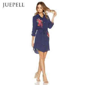 Bordar Color Azul Camisa de gasa vestidos damas
