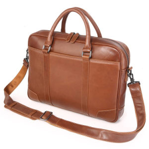 Factotryの価格のブラウンメンズデザイナーは革ラップトップのブリーフケースを袋に入れる