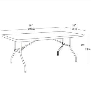 6.6FT прямоугольник пластиковых стола с 1PC верхней части