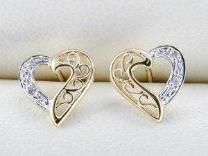 orecchino dell'oro giallo 10K con il diamante (LED1004)