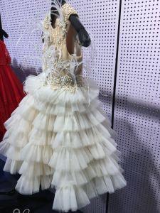 Champanhe Vestido de festa penas com rebordo para meninas Rsl004
