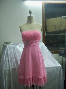 De roze Lange Avondjurk van de Vrouwen van de Kralenversiering van de Plooi in de Zomer