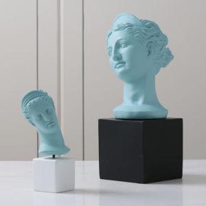 La cabeza de resina tallada figura estatua para decoración de salón