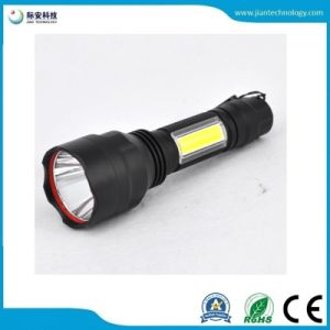 C8多機能の穂軸の側光アルミニウム軽い二重用途の再充電可能なLEDの懐中電燈