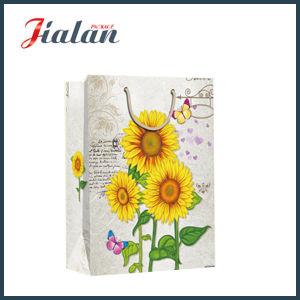 도매 4c는 해바라기 디자인 쇼핑 운반대 선물 종이 봉지를 인쇄했다