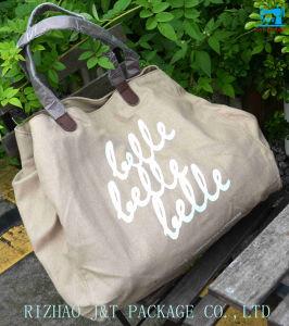 La stampa all'ingrosso poco costosa promozionale di marchio ricicla il sacchetto di Tote su ordinazione di acquisto della tela di canapa del cotone del calicò organico durevole del tessuto
