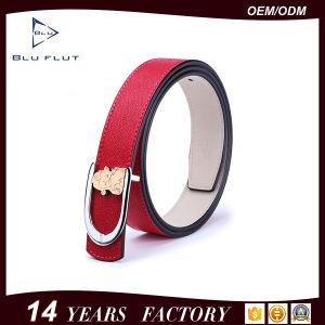 卸し売り方法本物の赤い革女性の金属3Dのバックルベルト