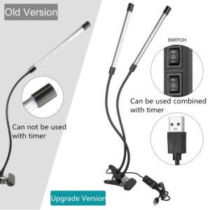 二重ヘッドLEDは軽い18Wクリップ式USBの電気スタンドの2レベルのプラントHydroponics LEDライトを育てる