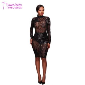 Caleb de lentejuelas negro Semi-Sheer Espalda abierta Dress L2047
