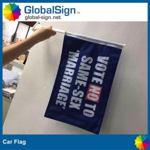 Promoción Dos caras de poliéster de personalización de la publicidad impresa volar coche Bandera La bandera de la ventana