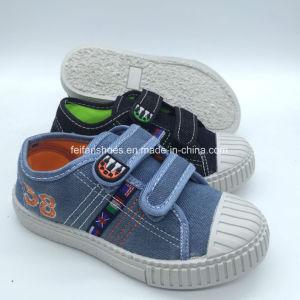 Los niños de la inyección de alta calidad superior Jeans zapatos casual con Magic Tape (HH18512-1)