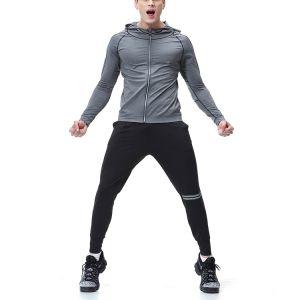 人の運動完全なジッパーのHoodiesの実行の動揺の軽量の縞はばねのスエットシャツを遊ばす