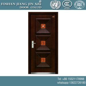 Precios baratos a ras de acero de madera de color amarillo de plástico exterior de la puerta de seguridad