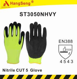 Hppe Resistente a cortes de fibra de vidrio 5 ANSI A5 Guante de nitrilo de espuma de arena