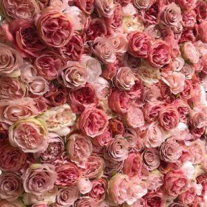 Comercio al por mayor de la boda de pared flores personalizadas de flores de seda como telón de fondo verdadero toque de seda de látex rosa flor decorativos para decoración de boda