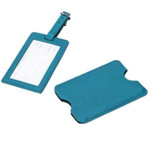 Luz azul no botão Não PU etiquetas de bagagem de couro