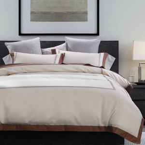 Le luxe de haute qualité coton Couleur Broderie literie lit d'accueil (JRD699)