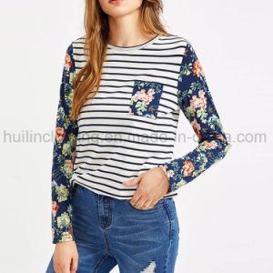 꽃 긴 Sleeeves 줄무늬 바디 둥근 목 여자 t-셔츠