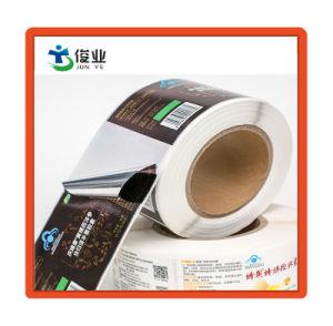 Custom de PVC impermeable adhesivo con lámina de oro para el envase de botella