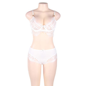 El tamaño de cuatro de dos colores en Stock Naughty Boudoir Net Sexy Bra Panty Set