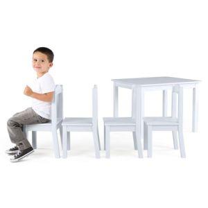 Mesa de madera para niños y 4 sillas (blanco)