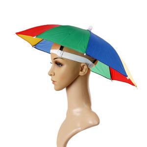 浜のキャンプのヘッド傘の女性の人の子供の日曜日雨傘の帽子の帽子をハイキングする屋外の循環釣