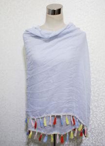ばねの方法多彩なポンポンの綿ポリエステルスカーフ(YKY1164)