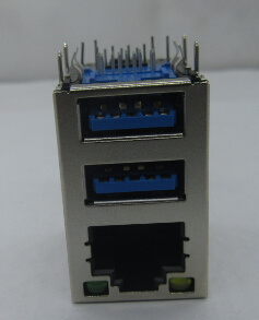 RJ45 con conector USB3.0 doble conector RJ45 sin LEDs con color azul