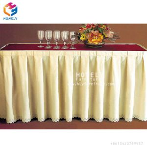 China 100% poliéster Fancy banquetes Mesa Hotel saia para venda
