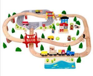 Presente de Natal quente 92PCS CONJUNTO TREM DE MADEIRA brinquedo para crianças e crianças