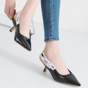 Appartements peu profonds en cuir Lady fait Toe ballerine chaussures occasionnel
