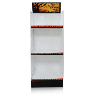 La pantalla de piso cartón corrugado, soporte de pantalla con tres bandejas para el supermercado