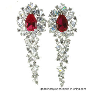 064f4f6e1e43 Caída de bisutería pendientes con piedras preciosas de color rojo (E6664)