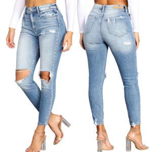 Novos designs rasgados 2021 Calças personalizadas Jeans Wholesale para mulher