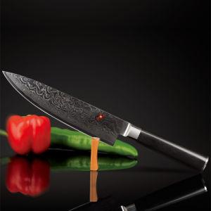 6 pulgadas de la luz de acero de Damasco SKD-11 ergonómico Mango Micarta Blade con cuchillo de Chef de Cocina