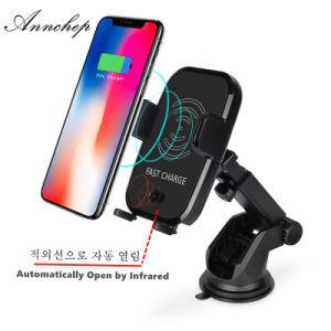 La inducción de infrarrojos automático rápido Qi Cargador de teléfono inalámbrico para coche para el iPhone X 8 Plus de Samsung S9 S8 y S7 se abre automáticamente cuando se pone el teléfono cerca de el cargador