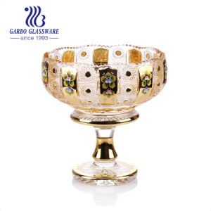 Royal Bol de fruits de verre avec Golden placage décoratif pour la maison