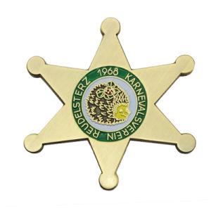 Neuer Entwurfs-Stern-Form-Goldmetallabzeichen-ReversPin für Dekoration (240)