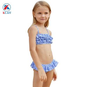 089e404d33b Dos piezas Paisley blanco azul Imprimir Niña Bikini con volante ...
