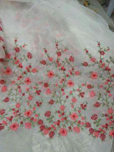 服のための新しいデザイン刺繍のオーガンザのレースファブリック