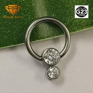 Cuerpo de la moda de Joyería de piercing Joyería en Plata G23 de titanio sólido Piercing Anillo de nariz con piedras de la RPT026.