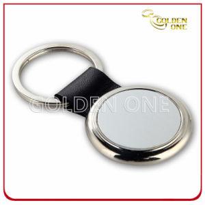Catena chiave del cuoio dello spazio in bianco del rifornimento della fabbrica con gli anelli