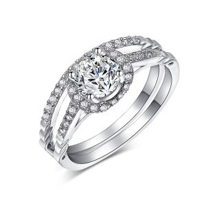 結婚式の宝石類明確なCZのマイクロ設定が付いている925の銀製のリング