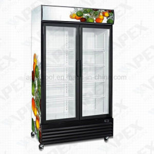 LG-1000D porta batente duplo Refrigerador de Bebidas Supermercados Vitrine Vertical