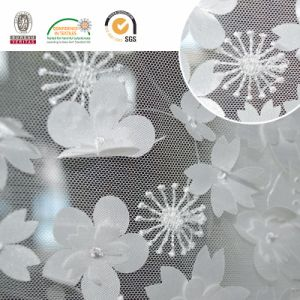 Solid White Flower New Mesh Lace Tecido C10009