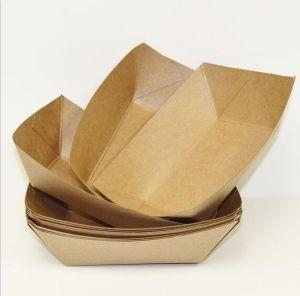Comercio al por mayor impresas personalizadas de papel Kraft desechables de la bandeja de comida