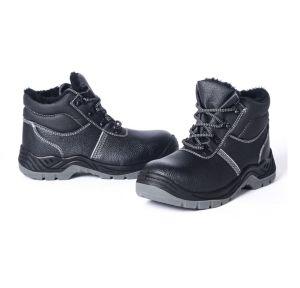 Cuero suela PU de acción Puntera Invierno Zapatos de seguridad