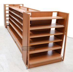 Acier inoxydable et de bois d'affichage de supermarché étagère pour des aliments de collation