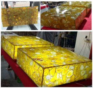 Hot Sale translucide jaune naturel de la dalle de pierre précieuse pour les murs d'Agate du décor, un comptoir, dessus de table