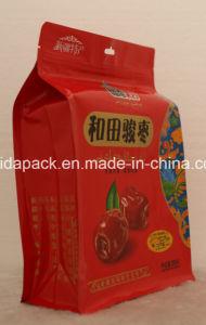 Quad de plástico envases de alimentos con cremallera de la bolsa de fondo plano.